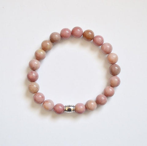 Bravery, Compassion and Forgiveness | Beaded Stretch Bracelet | Rhodonite Gemstone | handmade in Calgary, Alberta | Intention, meaning jewelry