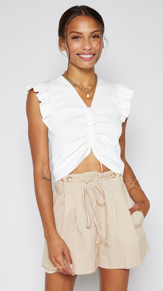Sadie and Sage | Playa Ruffle Knit Top | Sunset Gold | v-neck | ruched top