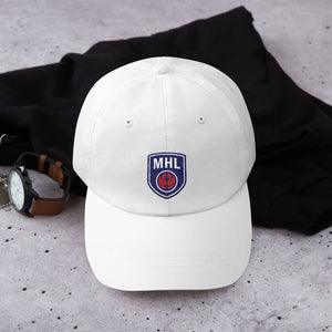 White MHL Shield Dad hat