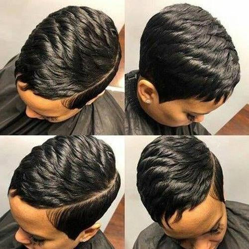 360 Lace Wig Pixie Boycuts Layered Super Short Straight Wig | Black/Brown/Golden Human Hair Wig