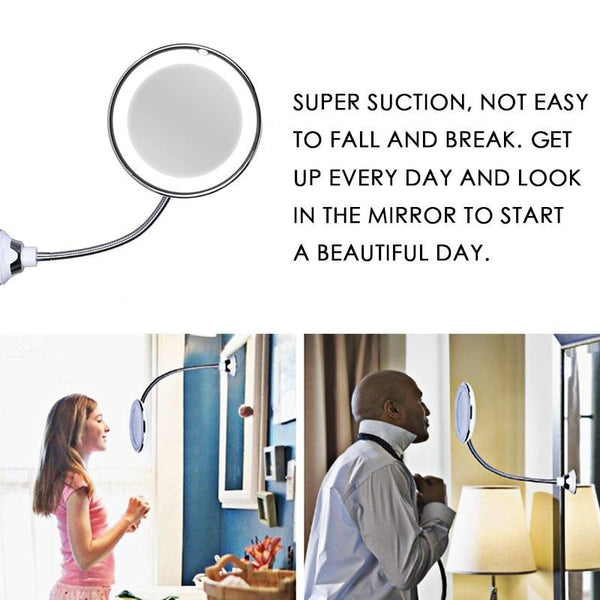 5x 10x Magnifying 360 Rotation Bendable Flexible LED Mirror