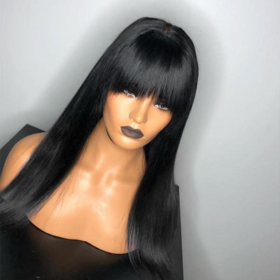 360 Lace Bang Wig Remy Human Hair Straight Wig | With Baby Hair Wig