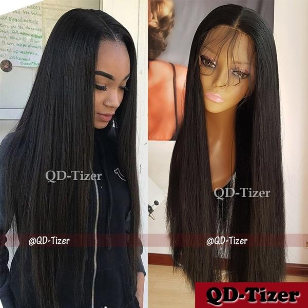 Density Long Straight Hair Light Yaki Synthetic Lace Front Wig with Baby Hair