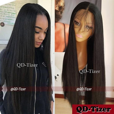 Density Long Straight Hair Light Yaki 360 Lace Front Wig with Baby Hair