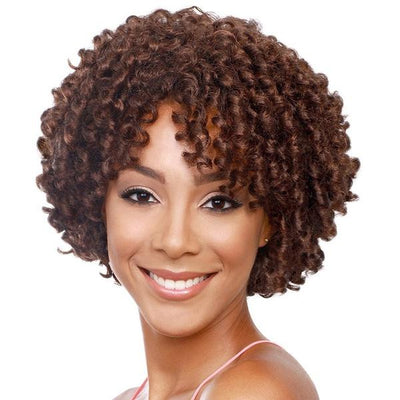 Kinky Curly African American Short Hair Wigs | Brown Human Afro Wig