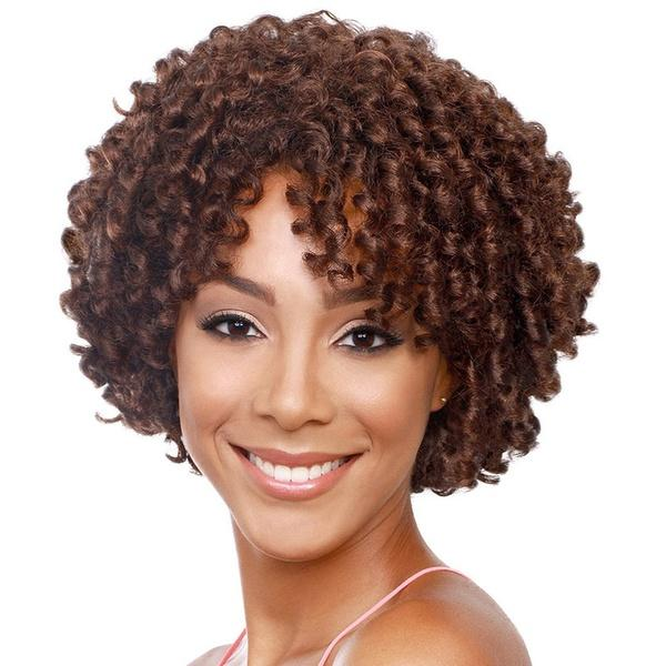 Kinky Curly African American Short Hair Wigs | Brown Synthetic Afro Wig