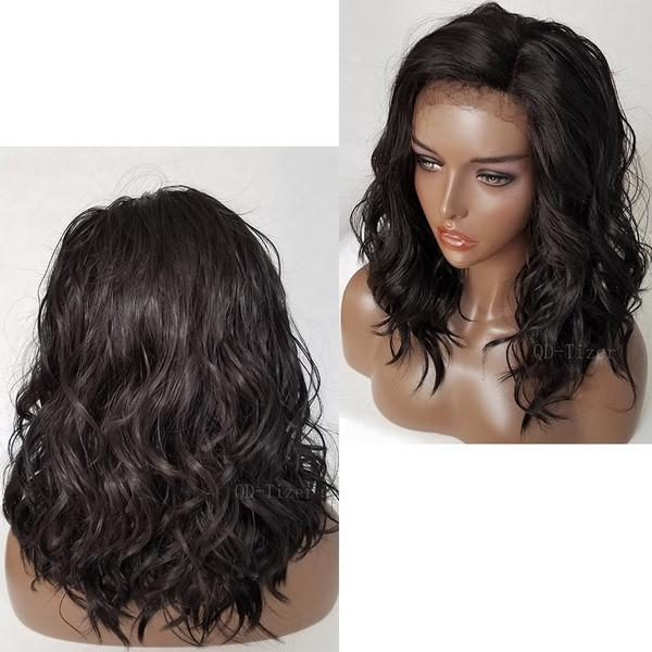 Fashion Short Bob Wavy  Lace Front Wigs | Baby Hair Body Wave Hair Wigs