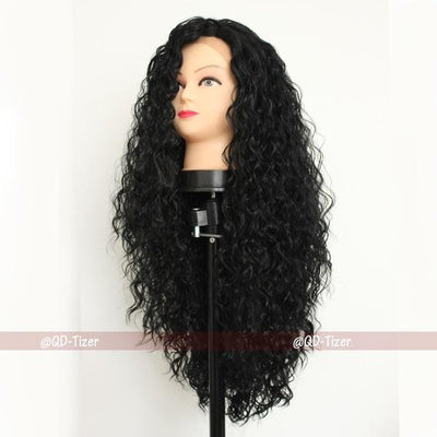 Lace Front Wig|150 Density Black Loose Wavy Curly Wigs