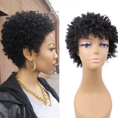 Fashion Afro Curly Wig Human Hair Short Wigs Color Black