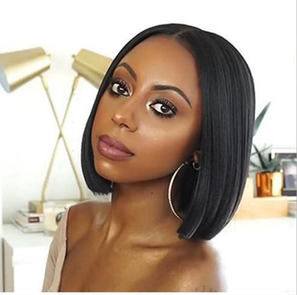 Short Straight Bobo Head Wig | High Temprature Silk Full Head Wigs