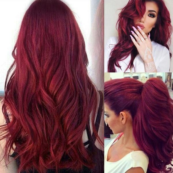 Fashion Dark Wine Red with Slight Wavy Style Long Curly Body Wavy Wigs