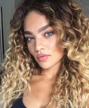 Fashion Natural Human Wig | Ombre Blond Afro Kinky Curly Wigs