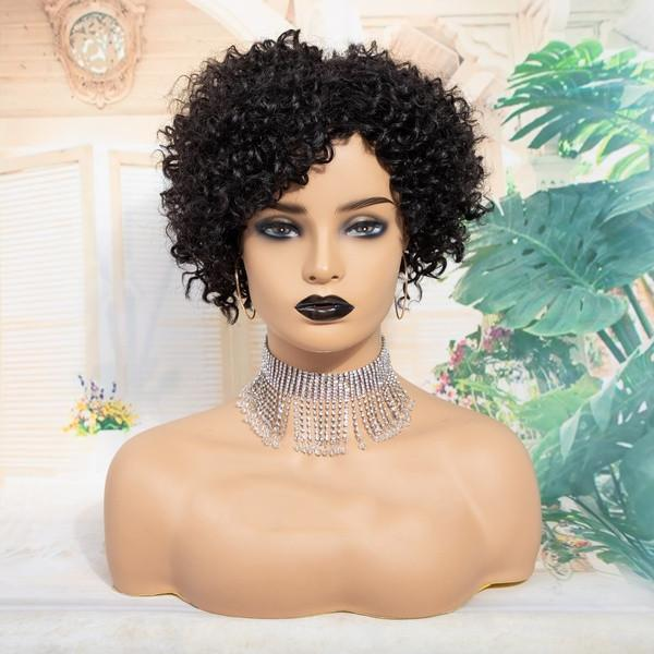100% Brazilian Virgin Human Hair Wig | Black Short Afro Curly Wigs