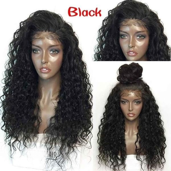 Women's Fashion Long Curly Wavy Hair|Lace Frontal Fluffy Afro Wig|Wave Full Wig
