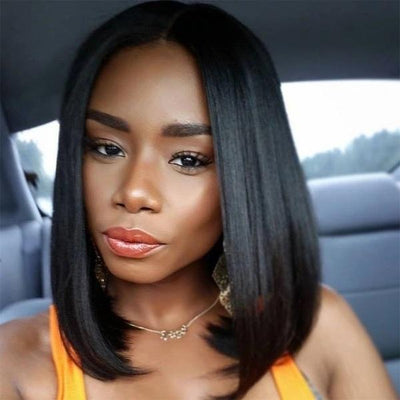 Short Straight Short Human Hair Wigs | Bob Human Hair Wig | Full And Thick Natural Color