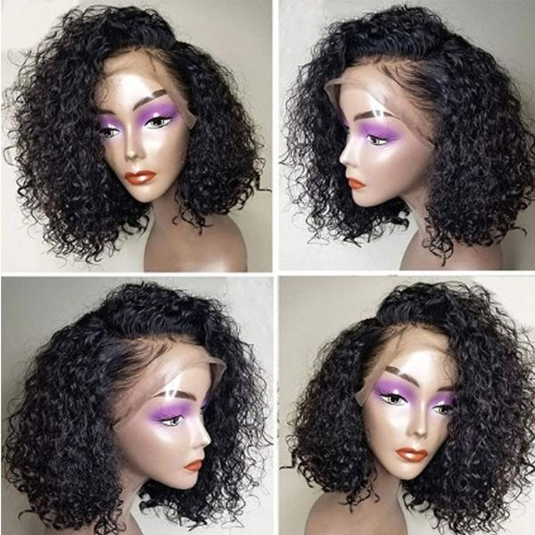 Brazilian Virgin Human Hair | Curly Short Bob Water Wave Lace Front Wig