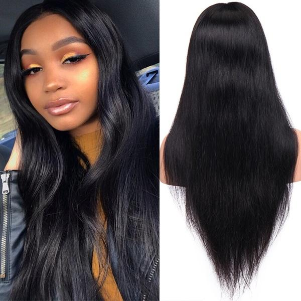 Fashion Women Natural Yaki Straight Lace Front Hair Wig With Baby Hair