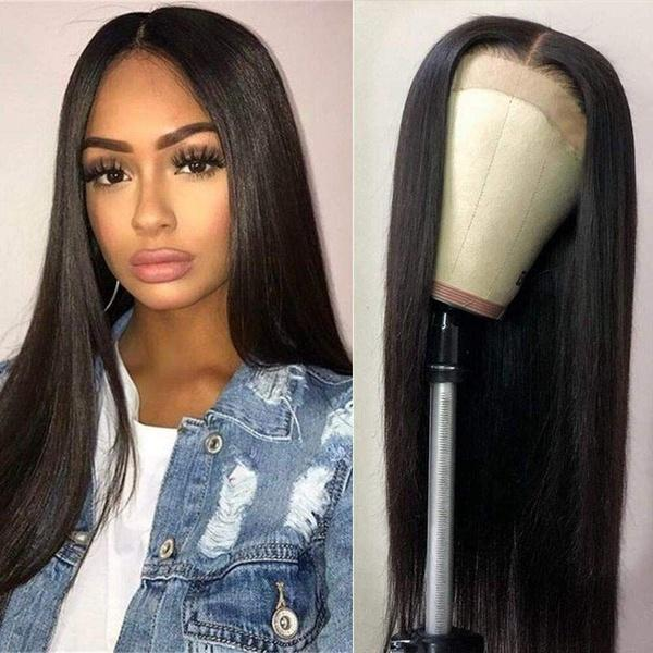 Straight Lace Front Wigs | Human Hair | Lace Front Wig Black Pre Plucked with Baby Hair