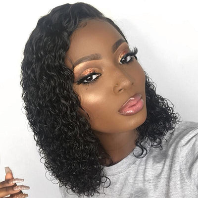 Lace Front Human Hair Wig | Deep Part Curly Brazilian Remy Hair Lace Front Wigs