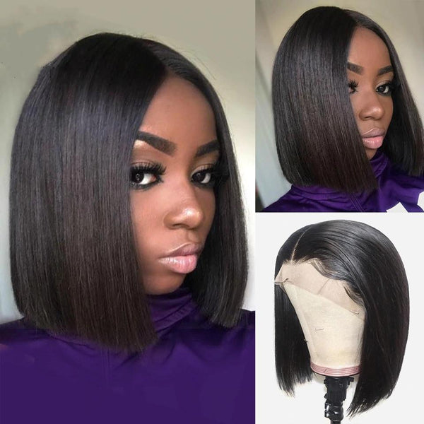 Short Lace Front Human Hair Wigs | Brazilian Straight Bob Wig