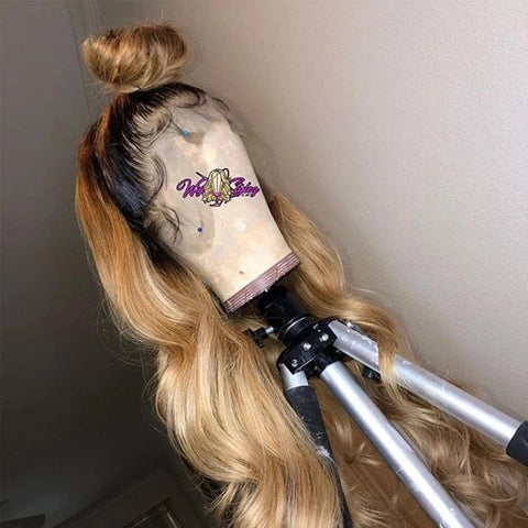 360 Lace Wigs Pre Plucke body wave With Babyhair Brown Mixed Gold