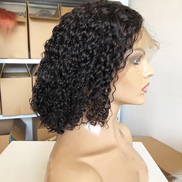 360 Lace Wig Best Design Short Curly Wig | Black/Brown Human Wig
