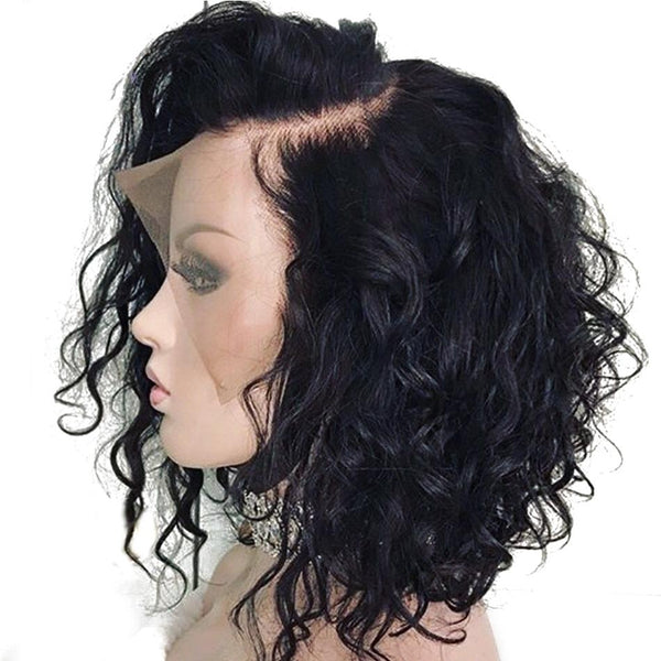 200% Density Brazilian Lace Front Short Water Wave Human Hair | Glueless Remy Brazilian Wig