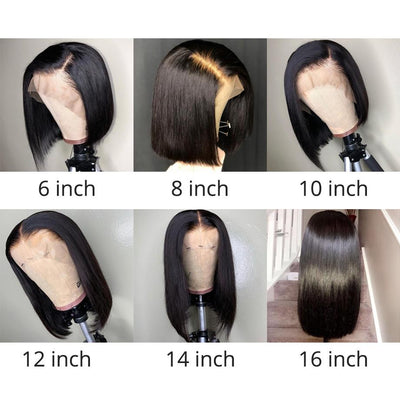 Short Lace Human Hair Wigs Bob For Black Women | Brazilian Straight Remy baby hair