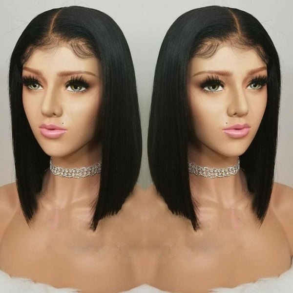 Black Straight Hair Wig | Peruvian Bob Wig | 13*4 Lace Front Human Hair Wigs