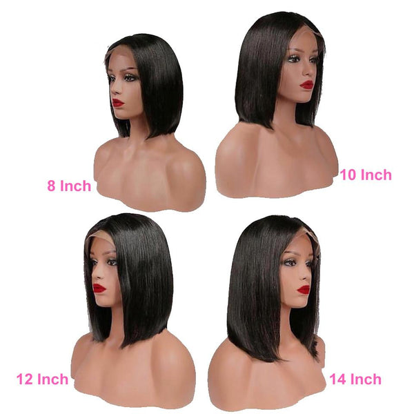 Straight Short Human Hair Wigs | 140% Density 13X4 Straight Bob Lace Front Wigs