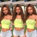 Super Sexy Curly 360 Lace Frontal Wigs |  Black/Brown Mixed Gold Human Hair