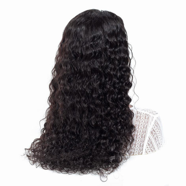 Black Curly Women Remy 150% Density Mongolian Lace Front Human Hair Wig