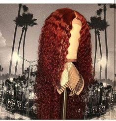 150% Density Long Curly 360 Lace Wig 100% Virgin | Black / Wine Red Human Wig