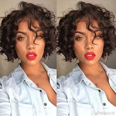 130% Density Brazilian Natural Color Short Curly Bob 360 Lace | Human Wig