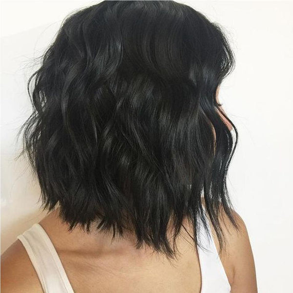120% Density Short Bob Lace Front Natural Wave Wigs For Women | Human Hair Indian Remy Natural Black
