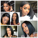 150% Density Straight Short Bob Wig Lace Front Human Hair Wigs For Black Women