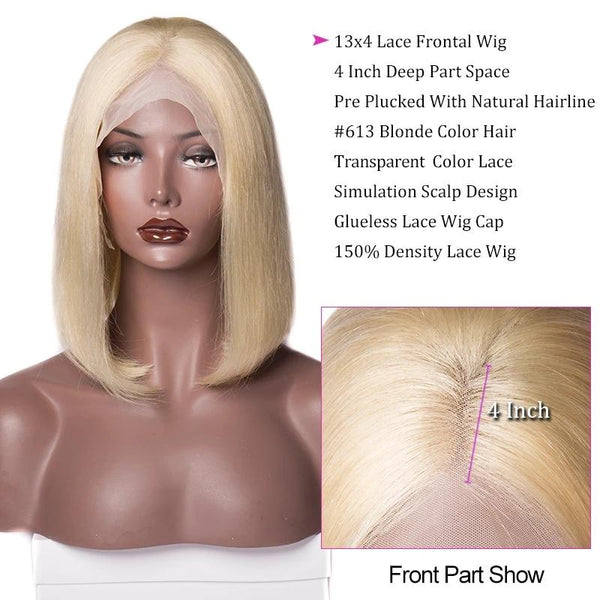 150 Density Blonde Bob Wig Brazilian Straight Remy Human Hair Lace Front Wigs For Women