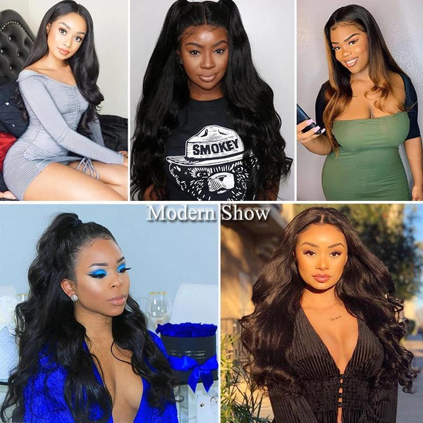 150 Density Brazilian Virgin Human Hair Water Wave Glueless Lace Front Wigs Half Lace Wigs