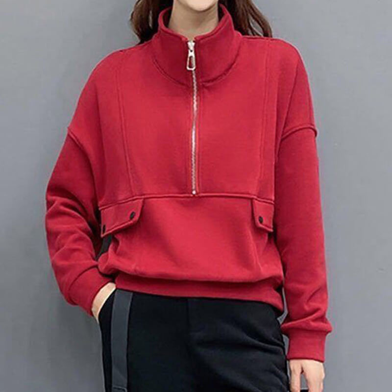 Stand-up Collar Fleece Jacket