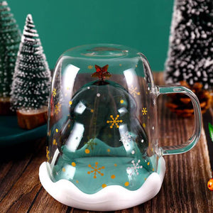 Christmas Tree Glass Cup | Double Layer Glass Cup | 300ml
