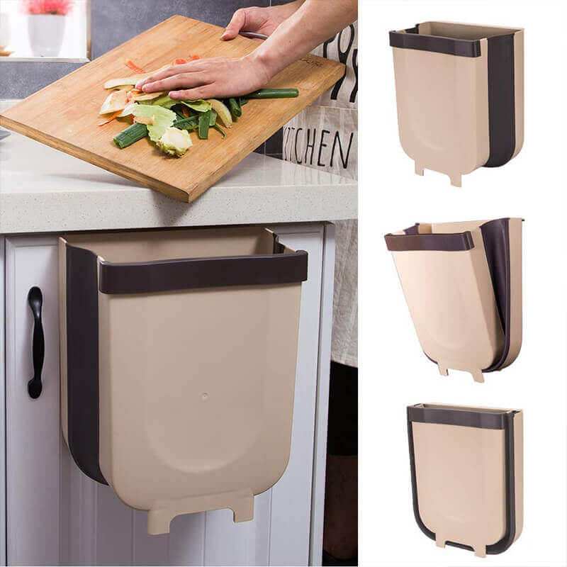 Kitchen Hanging Folding Trash Can 9L