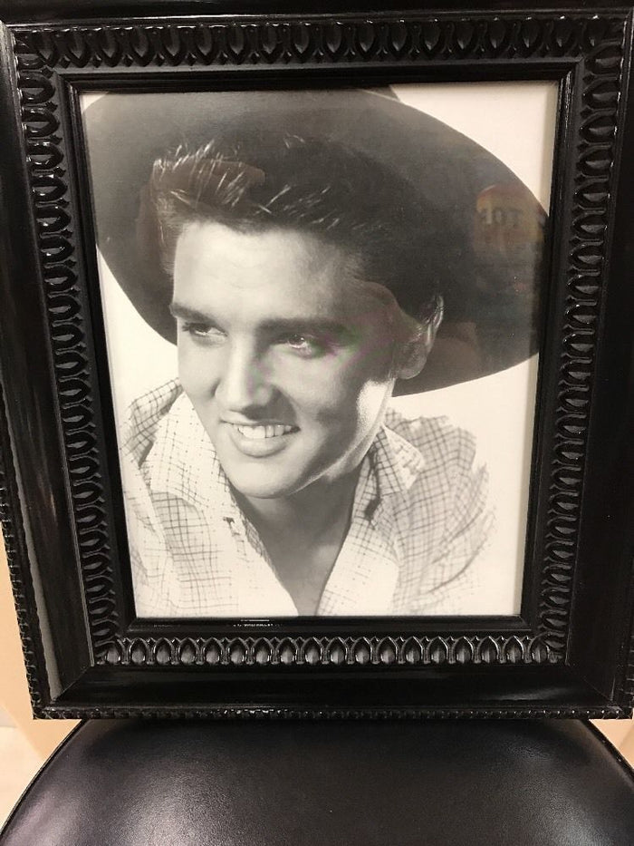 Elvis Presley 8 X 10 Black Frame Western Cowboy Hat And Black N