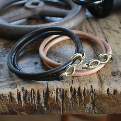 SasoRi Leather Bracelet in tan x brass