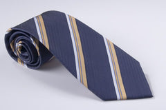 Royal Blue Field with Medium Gold  and Narrow White Light Blue Pinstripes (S156)