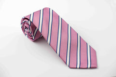 Pink with white and royal blue stripes (S215)