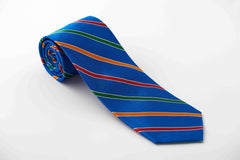 Royal blue with narrow red, orange and green stripes (S230)