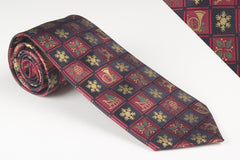 Christmas Tie For The Holiday Season. Snowflakes, Sleighs, Holly Leaves, Trumpets and Pine Cones Will Help You Celebrate The Holiday Season With A Flare (H1000)