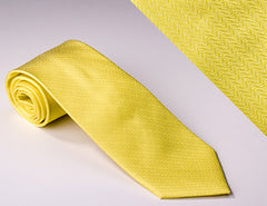Canary Yellow Curved Line Solid Tie (T310)