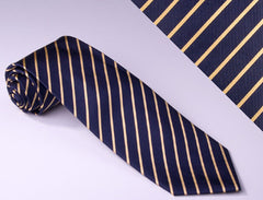 Navy Blue With Narrow Gold Stripes (S107)