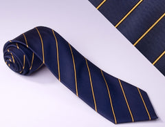 Wide Navy Blue and Narrow Royal Gold Stripes (S111)
